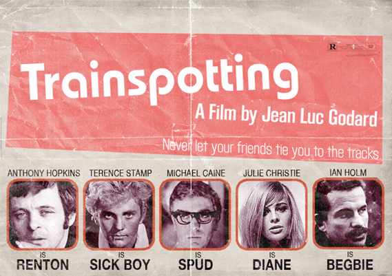 Filme Trainspotting - Um filme de Jean Luc Godard - Com Anthony Hopkins, Michael Caine e Terence Stamp